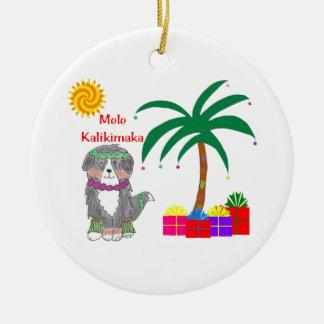Noël de Hawaïen de chien de Bernese Mtn Ornement Rond En Céramique