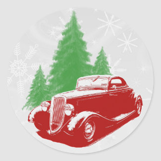 Noël de hot rod autocollant rond