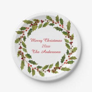Noël de houx rouge de baies d'aquarelle Joyeux Assiettes En Papier