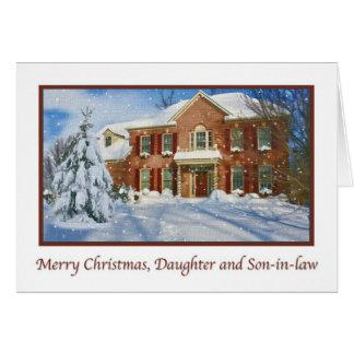 Noël de la fille, scène à la maison de Milou Carte De Vœux