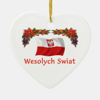 Noël de la Pologne Ornement Cœur En Céramique