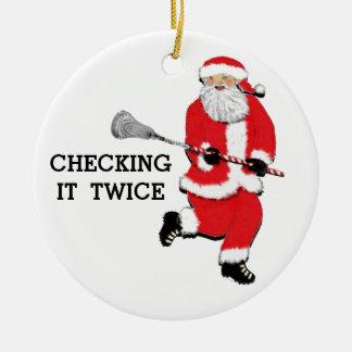 Noël de lacrosse collectable ornement rond en céramique
