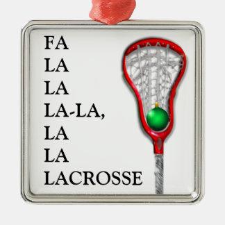 Noël de lacrosse ornement carré argenté