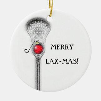 Noël de lacrosse ornement rond en céramique