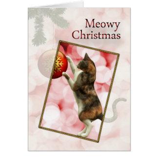 Noël de Meowy avec un chat espiègle Carte De Vœux