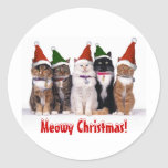 """""""Noël de Meowy !"""" Chats dans des chapeaux Autocollant Rond"""