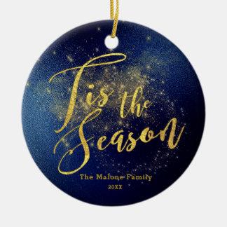 Noël de minuit de ciel résolu par or fait sur ornement rond en céramique