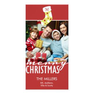 Noël de monogramme stockant des vacances de cartes de vœux avec photo