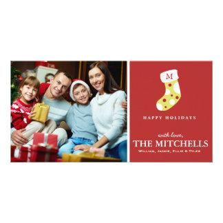 Noël de monogramme stockant des vacances de carte avec photo