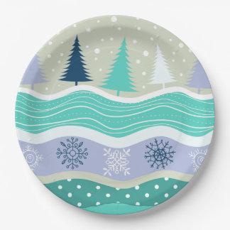 Noël de neige de flocons de neige de sapins de assiettes en papier