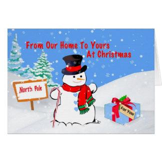 Noël, de notre maison, bonhomme de neige, cadeau, carte de vœux