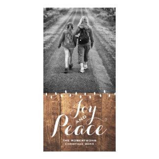 Noël de paix de joie souhaite les lumières v2 en photocarte customisée