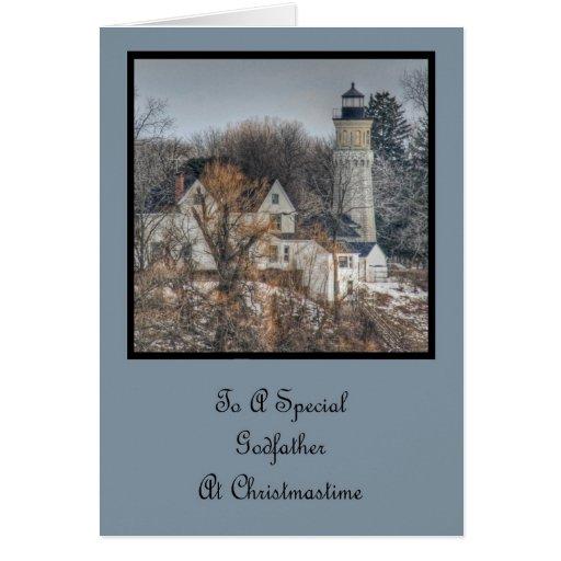 Noël de phare souhaite le parrain carte de vœux