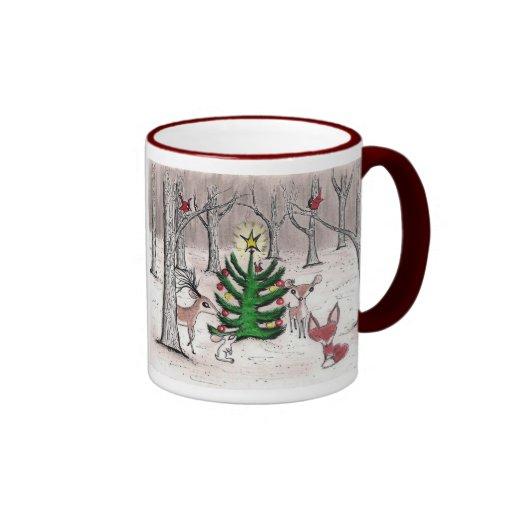 Noël de région boisée d'hiver - tasse