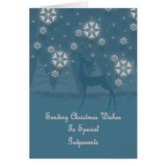 Noël de renne de parrains carte de vœux