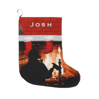 Noël de sapeur-pompier grande chaussette de noël