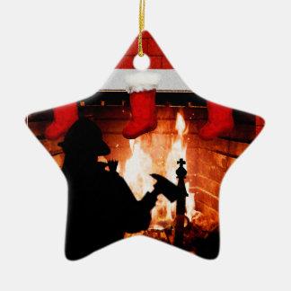 Noël de sapeur-pompier ornement étoile en céramique