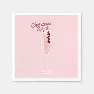 Noël de scintillement rose serviettes jetables