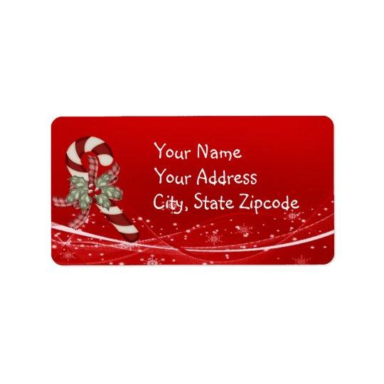 Noël de sucre de canne étiquettes d'adresse