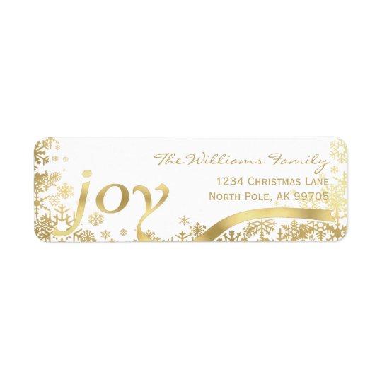 Noël de vacances de flocon de neige d'or de joie étiquette d'adresse retour