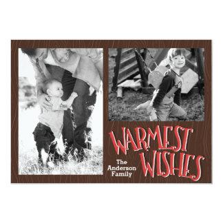 Noël de vacances de souhaits le plus chaud carton d'invitation  12,7 cm x 17,78 cm