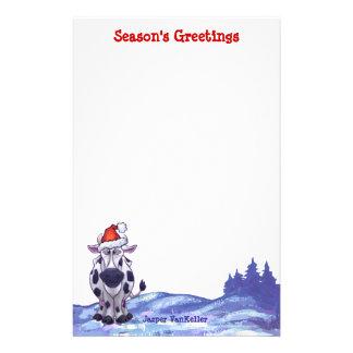 Noël de vache papier à lettre personnalisé