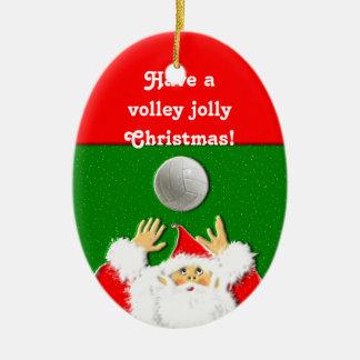 Noël de volleyball ornement ovale en céramique