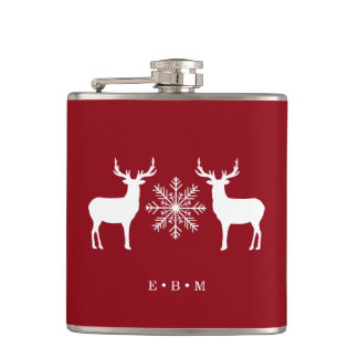 Noël décoré d'un monogramme de cerfs communs de flasques