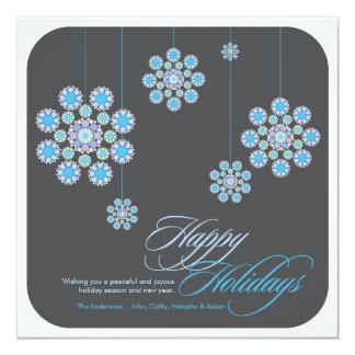 Noël d'hiver fleurit des salutations de vacances invitations