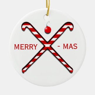 Noël d'hockey de champ ornement rond en céramique