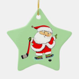 Noël d'hockey ornement étoile en céramique