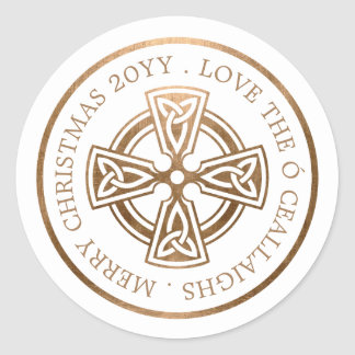 Noël d'Irlandais de croix celtique d'or Sticker Rond