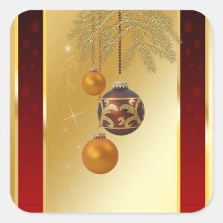 Noël d'or élégant - autocollant carré
