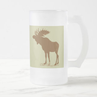 Noël d'orignaux mug en verre givré