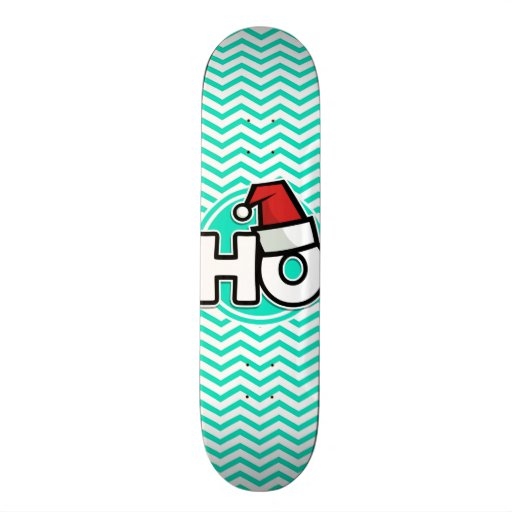 Noël drôle ; Aqua Chevron vert Skateboards Personnalisés