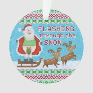 Noël drôle | le père noël clignotant par la neige