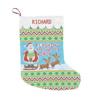 Noël drôle | le père noël clignotant par la neige petite chaussette de noël