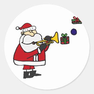 Noël drôle Père Noël jouant la trompette Sticker Rond