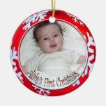 Noël du bébé de flocons de neige de PixDezines Ornement De Noël