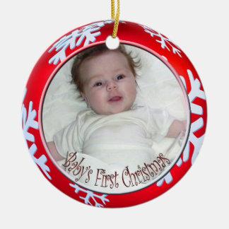 Noël du bébé de flocons de neige de PixDezines Ornement Rond En Céramique