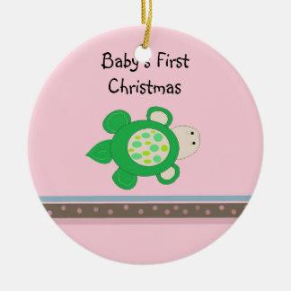 Noël du bébé de tortue verte premier ornement rond en céramique