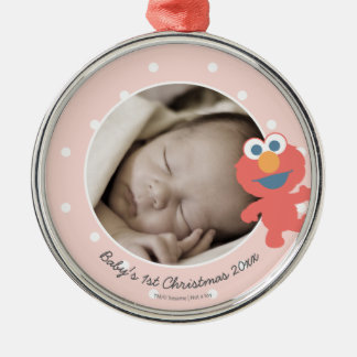 Noël du bébé d'Elmo   le premier - ajoutez votre Ornement Rond Argenté