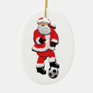 Noël du football ornement ovale en céramique