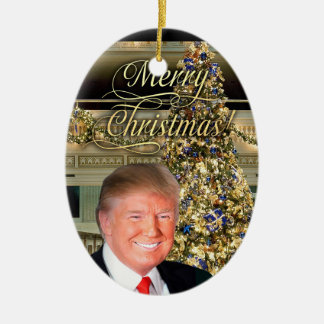 Noël du Président Donald J. Trump Decorative Ornement Ovale En Céramique