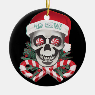 Noël effrayant ornement rond en céramique