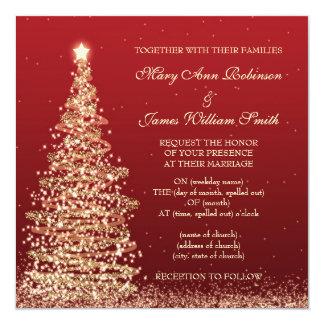 Noël élégant épousant le rouge carton d'invitation  13,33 cm