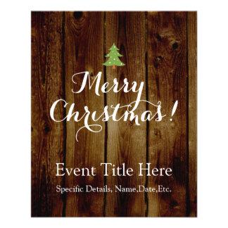 Noël en bois vintage de pays Joyeux Prospectus 11,4 Cm X 14,2 Cm