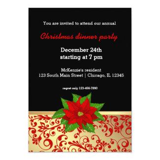 Noël en rouge et or carton d'invitation  12,7 cm x 17,78 cm
