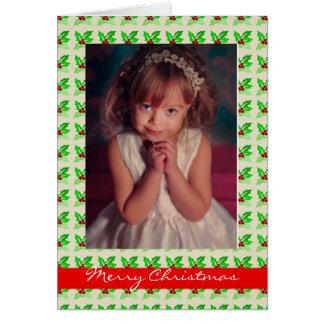 Noël encadré par houx carte de vœux