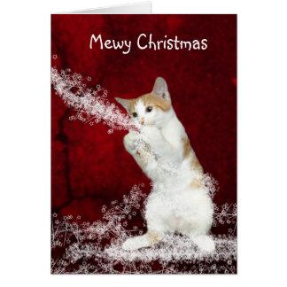 Noël espiègle de minou carte de vœux